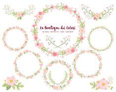 Pink Flower Wreath Clipart, Cute Scrapbook PNG, Laurel Wedding Invitation graphics, floral vector wreaths Clip art Commercial Use