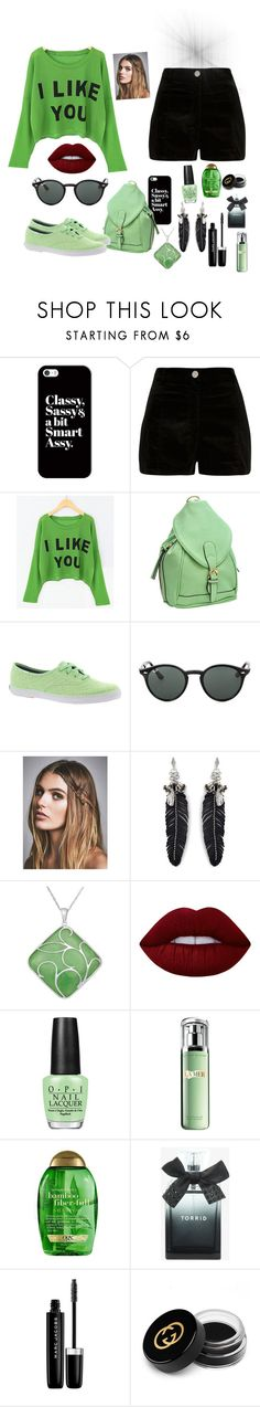"""""""I like you"""" by lemo2202 ❤ liked on Polyvore featuring Casetify, River Island, Dasein, Keds, Ray-Ban, Free People, Rebecca Minkoff, Lime Crime, OPI and La Mer"""