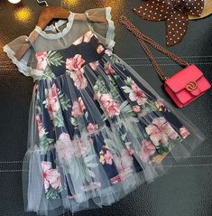 Buy Floral Prints Fly Sleeve Dress online with cheap prices and discover fashion… - Wedding Dresses Little Dresses, Little Girl Dresses, Cute Dresses, Girls Dresses, Flower Girl Dresses, Cheap Dresses, Dress Girl, Dresses Dresses, Floral Dresses