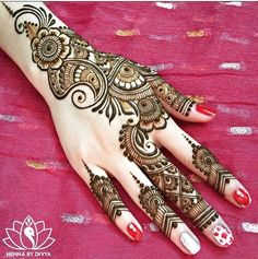 Browse the latest Mehndi Designs Ideas and images for brides online on HappyShappy! We have huge collection of Mehandi Designs for hands and legs, find and save your favorite Mehendi Design images. Henna Hand Designs, Eid Mehndi Designs, Mehndi Designs Finger, Mehndi Designs For Beginners, Mehndi Design Pictures, Latest Mehndi Designs, Mehndi Patterns, Mehndi Designs For Hands, Simple Mehndi Designs