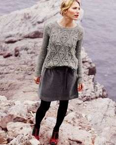 garnet hill ~ My absolute favorite catalogue. I could seriously buy everything I ever needed here! Style Feminin, Grey Outfit, Comfy Outfit, Inspiration Mode, Hand Knitted Sweaters, Fall Looks, Lana, Hand Knitting, Nice Dresses