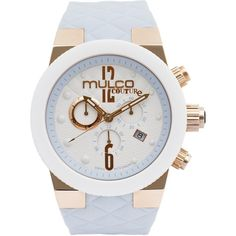 MULCO Couture Analog Display Swiss Quartz Blue Watch featuring polyvore, fashion, jewelry, watches, couture jewelry, stainless steel jewellery, white dial watches, stainless steel jewelry and analog wrist watch