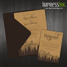 Cascade Mountain Wedding Invitation - Pocket Fold or Flat Card Sample