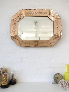 Vintage Art Deco Bevelled Edge Wall Mirror Colored Glass Extra Large by uulipolli on Etsy https://www.etsy.com/au/listing/268895542/vintage-art-deco-bevelled-edge-wall