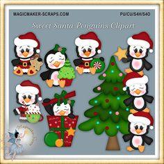 Imágenes Prediseñadas de pingüino de Navidad