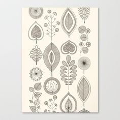 Retro Leaves Black and Cream Stretched Canvas by Sarah Travis - $85.00 Intricate ink leaf drawings, super fine black ink on a cream background.