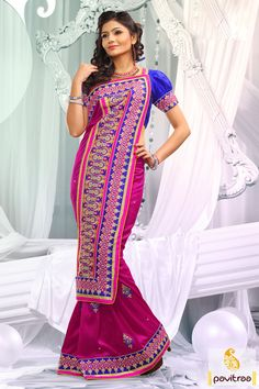 Dark pink blue designer party wear Saree which is embroidered, resham worked and lace patti worked. The finest bhagalpuri and dhupion made attire.