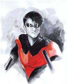 Nightwing Watercolor testing by ~Peter-v-Nguyen - Love this!!