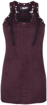 Dress by Rock Rebel by EMP:  - velour style - soft fabric - crew neck with loop cording - decorative loops - dividing seam on front and back - racerback - longtop  This longtop from Rock Rebel by EMP make quite an impression. This purple top features a round neck with eyelet lacing, that looks damn sexy. The top is in velour look and features a racerback. Especially cool is the fact this longtop can also be worn as a mini skirt.