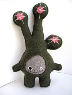 Olive Green and Pink Dot Strange Foo  Recycled Wool by sighfoo, $50.00