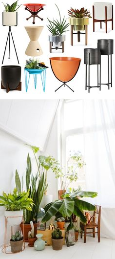 best of mid-century planters + plant stands