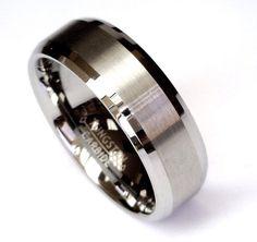 Men's Wedding Band Tungsten Carbide Ring Silver by TRENDZYJewelry, $120.00