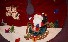 """Santa Claus Sleigh Christmas Tree Skirt Velvet Satin 44"""" Stars Reindeer Church"""