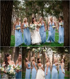 Bridesmaids Bride Cornflower Blue Dress Lilies Florals Bouquets Belle Beauty and the Beast Dress Off the Shoulder Wedding Dress © cb Yates Photography -Omaha, Gretna, Lincoln and surrounding Nebraska areas Wedding Photographer