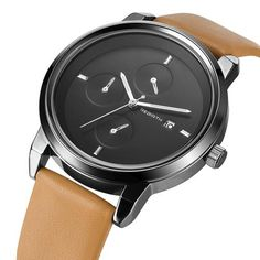 Simple Calendar Watch with Elegant Leather Band