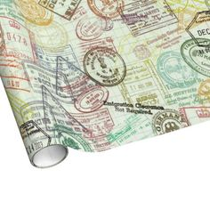 Passport Stamps Wrapping Paper - Sept 3 - #zazzle #junkydotcom #travel #customs #passport