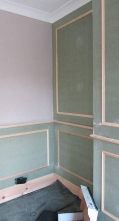 Before Painting Heritage Wall Panels with Feature Wall & Dado Break Living Room Panelling, Wall Panelling, Grey Feature Wall, Living Room Quotes, Wall Molding, Moulding, Bathroom Wall Panels, Wall Trim, Moldings And Trim