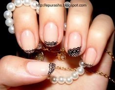hand painted lace nails - Click image to find more Hair & Beauty Pinterest pins