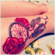 Cultural Dreamcatcher Tattoos Ideas in Modern Culture: Rose Dreamcatcher Tattoo Designs On Calf ~ Tattoo Ideas Inspiration Arm Tattoo, Piercing Tattoo, Leg Tattoos, Tatoos, Tattoo Designs For Girls, Tattoo Designs And Meanings, Tattoos With Meaning, Trendy Tattoos, Tattoos For Women