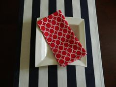 Navy Blue and White Stripe Table Runner. 14 x by BabyGigglesOnline