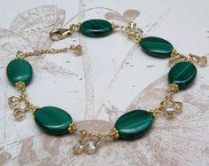 Bracciale in malachite pietra preziosa Filled verde di fineheart