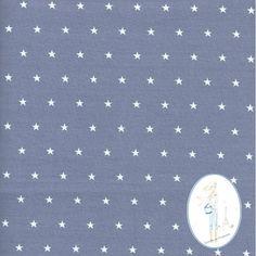 Tissu etoiles blanches sur fond gris au metre chez Sylvette en Goguette