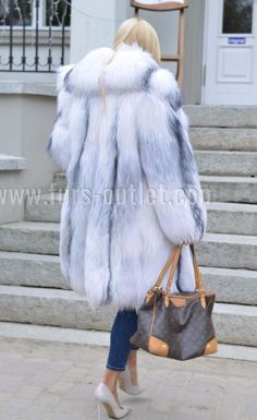 NEW 2017 ARCTIC ROYAL FOX FUR COAT CLAS CHINCHILLA SABLE MINK SILVER LONG JACKET