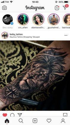 Black Sleeve Tattoo, Animal Sleeve Tattoo, Lion Tattoo Sleeves, Half Sleeve Tattoos For Guys, Best Sleeve Tattoos, Tattoo Sleeve Designs, Animal Tattoos, Tattoo Designs Men, Lion Forearm Tattoos