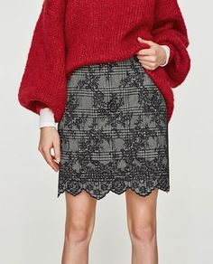 Image 5 of CHECKED LACE-EFFECT SKIRT from Zara