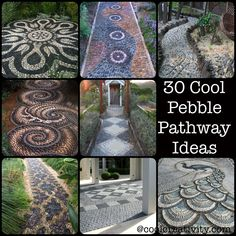 30 Cool Pebble Pathway Ideas to create a creative stone garden path. Well-laid pebble mosaics transforming a path into an eye-catching work of art. Stone Garden Paths, Garden Stones, Patio Stone, Mosaic Rocks, Pebble Mosaic, Rock Mosaic, Rock Pathway, Pebble Walkway Pathways, Stone Pathways