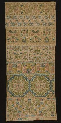 English Band sampler, Mid 17C by Elizabeth Clobery. @ MFA Boston  Linen with Silk embroidery