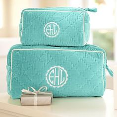 Quilted Velvet Beauty Cases – Pool #pbteen