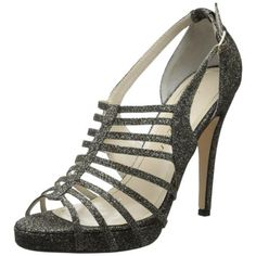 Caparros Womens Kassidy Glitter Caged Evening Sandals