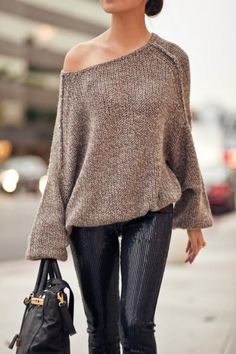 Stylish Oversized One Shoulder Off Sweater With Jeans