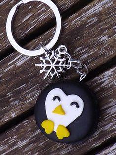 """Portes clés fimo originale """"Winter Penguin"""" : Porte clés par crea-lo"""