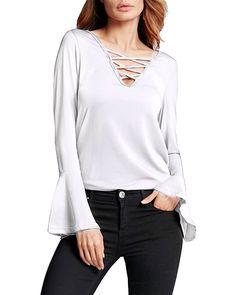 StyleDome Women's V Neck Lace Up Blouse Long Ruffled Sleeve Bandage Tops Shirt at Amazon Women's Clothing store: