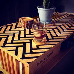 I love herringbone patterns.but is it too trendy? Coffee Table Makeover, Herringbone Pattern, Patterns, Tableware, Inspiration, Furniture, Decor, Block Prints, Biblical Inspiration