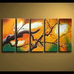 Enchant Contemporary Wall Art Hand Painted Oil Painting Stretched Ready To Hang plum blossom. This 5 panels canvas wall art is hand painted by Bo Yi Art Studio, instock - $155. To see more, visit OilPaintingShops.com