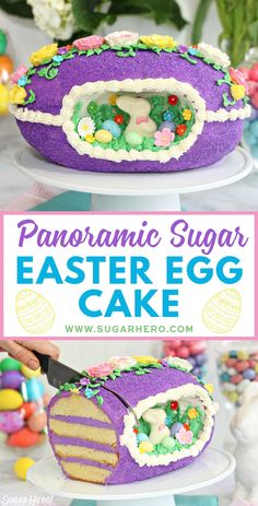 Looking for a knockout Easter cake? Try this Sugar Easter Egg Cake! It's based on old-fashioned panoramic sugar eggs, but it's made out of CAKE! It's entirely edible and the perfect Easter dessert! Panoramic Sugar Easter Eggs, Sugar Eggs For Easter, Easter Egg Cake, Easter Food, Easter Dishes, Cupcakes, Cupcake Cakes, Easter Recipes, Holiday Recipes