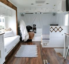 Family of four lives full-time in this stylish and well organized motorhome - Living in a shoebox Diy Blackout Curtains, Couch Storage, Motorhome Living, Airstream Living, School Bus Tiny House, Vanz, Rv Interior, Camper Makeover, Side Window