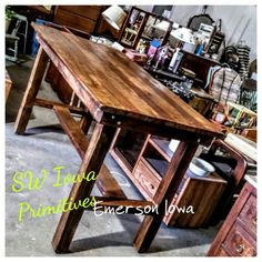 Reclaimed Barn Wood -  Custom harvest table SW Iowa Primitives - Emerson Iowa
