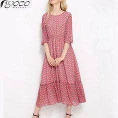 Mulheres Bohemian impresso meados de bezerro vestido de Chiffon para o verão YC12325 em Vestidos de Moda e Acessórios no…