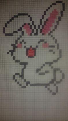 pixel art - Page 14 Graph Paper Drawings, Graph Paper Art, Art Drawings, Pearler Bead Patterns, Perler Patterns, Pixel Art Lapin, Cross Stitch Designs, Cross Stitch Patterns, Modele Pixel Art