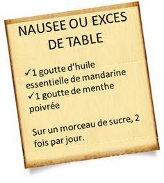 Nausée ou excès de table avec huile essentielle de mandarine