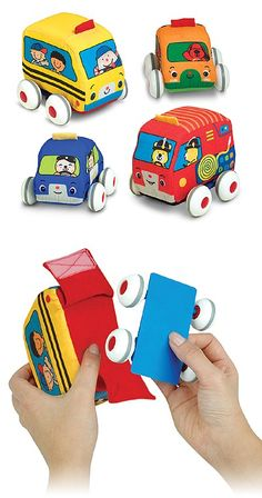 {Pull-Back Vehicles Baby and Toddler Toy} *With removable wipe-clean wheelie insert and washable fabric surface! Check out the site for fun extension activities: http://www.melissaanddoug.com/pull-back-vehicles-baby-toddler-and-preschool-toys