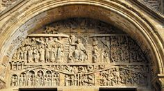 ROMANESQUE ARCHITECTURE, France - The Last Judgment, Ste-Foy, Conques, 1050-1130. On the western facade of the abbey church a deep semi-circular arch contains the tympanum of the Last Judgment. This subject, as well as the Apocalypse, was popular in Romanesque churches in south and southwest France.