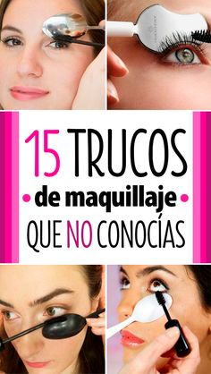 Simple makeup tips- Trucos sencillos de maquillaje If you are one of the girls who fear an eyelash curler, it is time to overcome your makeup phobia and put into practice these 15 simple makeup tricks to become an expert in cosmetics. Makeup Morphe, Eyebrow Makeup, Hair Makeup, Beauty Make Up, Hair Beauty, Simple Makeup Tips, Eye Liner Tricks, Makeup Tricks, Beauty Makeup Photography