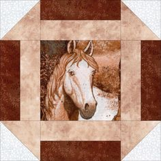 """~ Kits for this quilt are all sold out...what's a gal to do???? This country western easy quilt kit has a variety of fussy cut wild horse portraits, marble tan, white tone on tone and brown vines. Gorgeous horse quilt kit that is precut for you. Perfect for western theme rooms, horse lovers, wall décor, throws, cuddle quilts and more. Kit includes pre-cut fabric for 12 (9"""") blocks plus pattern. Quilt top size 27"""" x 36"""". Need a larger quilt? Add more blocks or kits."""
