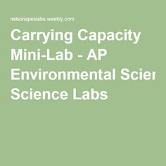 Carrying Capacity Mini-Lab - AP Environmental Science Labs