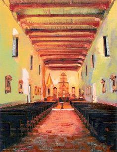 Interior of San Diego de Alcala Mission, painting by California artist RD Riccoboni